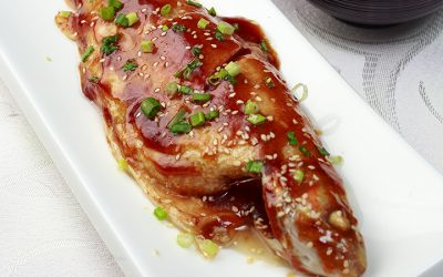 GOLDEN TROUT WITH SESAME GINGER SWEET TERIYAKI